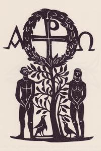 Adam und Eva mit Lebensbaum