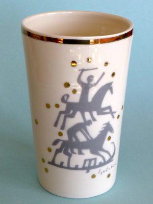Vase »Reiter«, Porzellan mit Echtgoldauflage, 14,5 cm hoch, ∅ oben 8,5 cm, ∅ Boden 6,9 cm